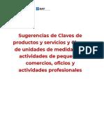 Sugerencias de Claves para Productos y Servicios par PYMES México