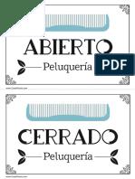 Cartel Abierto Cerrado Peluquería