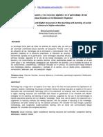 El uso de la Gamificación y los recursos digitales en el aprendizaje de las Ciencias Sociales en la Educación Superior