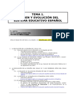 "1. ORIGEN Y EVOLUCIÃ""N DEL SISTEMA EDUCATIVO ESPAÃ'OL"