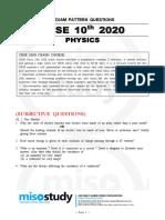 CBSE Class 10 Physics Sample Questions 2020