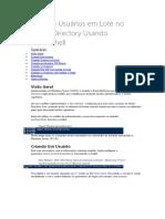 Microsoft Windows Server 2008 R2 - Criando Usuario Em Lote No Active Directory Usando PowerShell