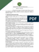 Edital de Abertura Da Seleção 2019 Arapiraca