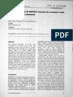 La Digestibilidad de Las Fuentes de Nutrientes Para La Carpa Común, Cyprinus Carpio Linnaeus