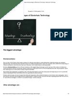 Advantages & Disadvantages of Blockchain Technology – Blockchain Technology