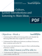 UK Lecture Culture, Introductions, With Link to Audio