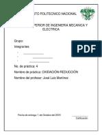 Reporte, Practica 4 Oxidacion-Reduccion