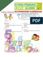 Clasificación de Expresiones Algebraicas Para Tercero de Primaria