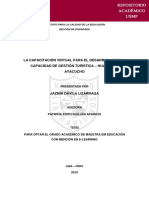La Capacitación Virtual Para El Desarrollo de La Capacidad de Gestión Turística – Huamanga Ayacucho