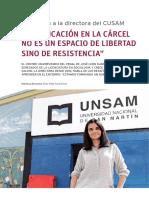 Entrevista Directora CUSAM La Educacion en La Cárcel No Es Un Espacio de Libertad Sino de Resistencia