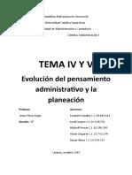 Evolucion Del Pensamiento Administrativo y La Planeacion