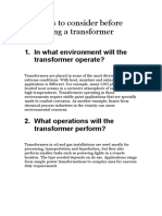 8 Factors to Consider Before Selecting a Transformer