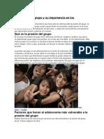 La Presión Del Grupo y Su Importancia en Los Adolescentes