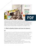 Creating Quality Culture in an Organization