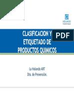clasifiacion y etiquetado de prod quimicos