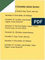 Altar School Servers Schedule Nov-Dec 2019