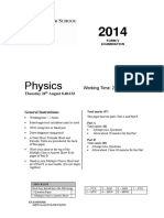 Sydney Grammar 2014 Physics Prelim Yearly & Solutions