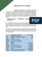 Propiedad, Planta y Equipos Palmares Santa Marta Sas
