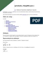 Radiciação Propriedades, Simplificação e Operações
