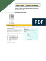 Conversion de Binario a Decimal y Decimal a Binario