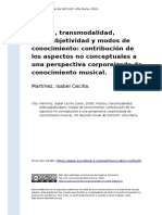Martinez, Isabel Cecilia (2009). Musica, Transmodalidad, Intersubjetividad y Modos de Conocimiento Contribucion de Los Aspectos No Concep (..)