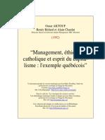 Omar Aktouf - Management, Éthique Catholique Et Esprit Du Capitalisme, Ex. Quebec