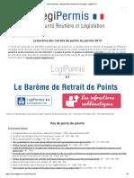 Perte de Points - Barème Des Infractions Et Amendes - LegiPermis