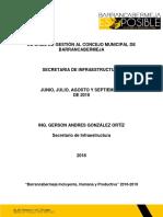 Informe de Gestión Junio - Agosto INFRAESTRUCTURA 2018