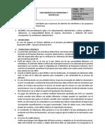 006. 5 p015 Procedimiento de Admisiones y Matriculas v13