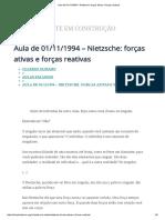Aula de 01-11-1994 – Nietzsche_ Forças Ativas e Forças Reativas