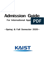 KAIST admission guide 2020