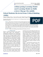 The Effect of Problem posing Learning Model and Problem Based Learning Model on Skills Writing Text Reviews Cilacap City middle School Students Reviewed from Critical thinking Ability