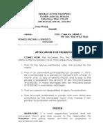 Application for Probation - RA 9262