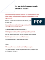 how does hitler use body language to gain dominance as the nazi leader
