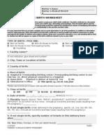 Indiana Birth Worksheet