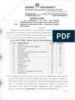 Application Inviting for Ph.D. M.phil Programmes 2019 20