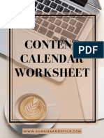 Content Calendar Worksheet