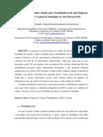 Avaliação de Trabalho e Saúde Entre Trabalhadores de Uma Empresa de SUPRESSÃO VEGETAL DO MUNICIPIO de ALTA FLORESTA