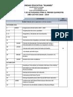 Cronograma de Actividades Unidad Eduicativa Huambi 2018-2019 Hoy (2)