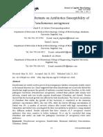 Effect of Disinfectants on Antibiotics Susceptibility of Pseudomonas Aeruginosa