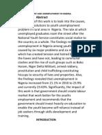 Rural Development and unemployment in Nigeria