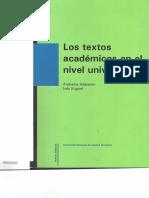 Los textos académicos en el nivel universitario (FRAGMENTO)