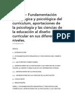 Tema 1 – Fundamentación Pedagógica y Psicológica Del Currículum, Aportaciones de La Psicología y Las Ciencias de La Educación Al