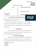Profanchik v. France - Plaintiffs' First Amended Original Petition