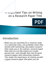 4 Important Tips on Writing on a Research