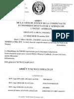 Arrêt de la Cour de justice de la CEDEAO du mercredi 30 octobre 2019