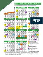 2019-20 school calendar color revised