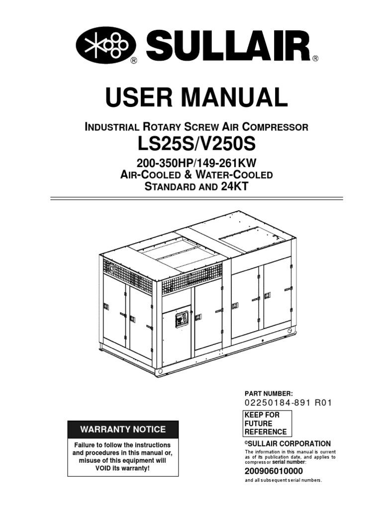 Operations Maint /& Parts Manual Sullair Series 10 Motor Driven Screw Compressor