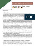 Selecciones Ferenczianas Obras Completas Tomo IV El Problema Del Fin Del Analisis 1928b