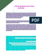 Relacion de La Quimica Con Otras Ciencias